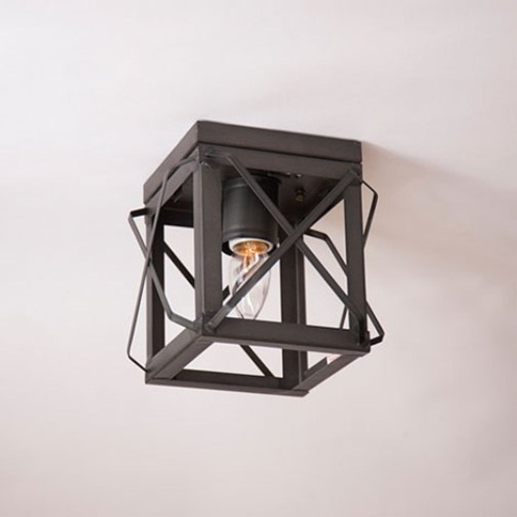 Irvin's Single Ceiling Light With Folded Bars Finished In Kettle Black