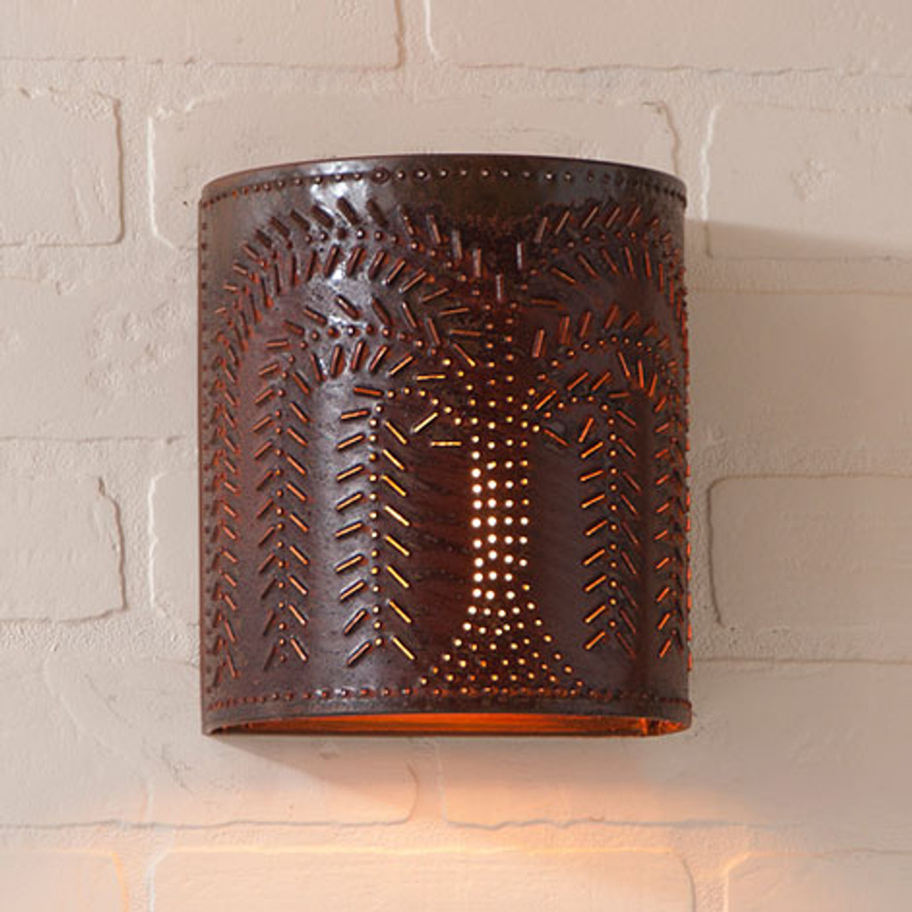 Irvin's Willow Sconce Finished In Rustic Tin