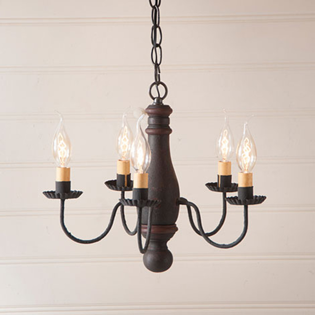 Irvin's Bed & Breakfast Wooden Chandelier In Hartford Black With Red Trim