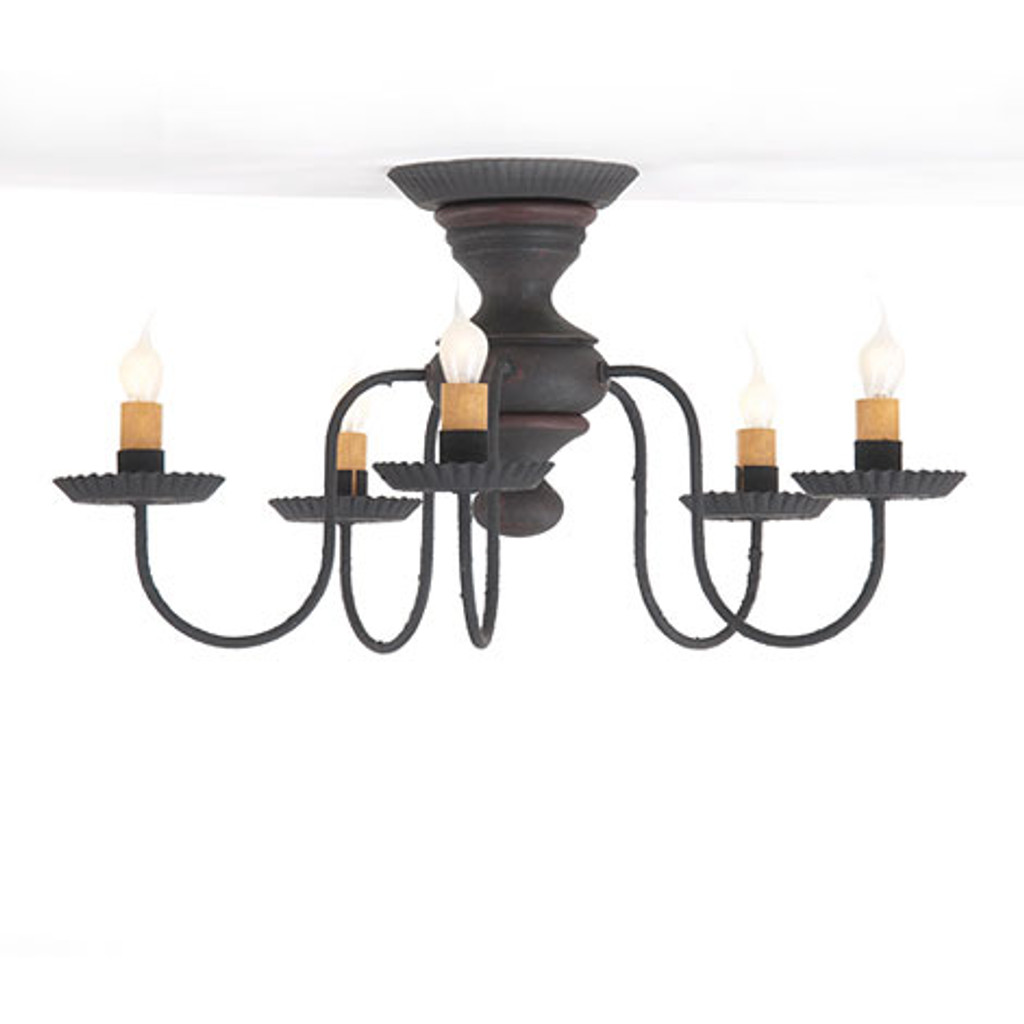 Irvin's Thorndale Ceiling Light In Hartford Black With Red Trim