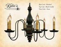 Katie's Handcrafted Lighting Anderson House Wood Chandelier Pictured In: Base Coat Color = Mustard, Top Coat Color = Black Crackle, Trim Color = None