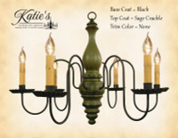 Katie's Handcrafted Lighting Anderson House Wood Chandelier Pictured In: Base Coat Color = Black, Top Coat Color = Sage Green Crackle, Trim Color = None