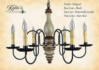 Katie's Handcrafted Lighting Anderson House Wood Chandelier Pictured In Original Finish: Base Coat Color = Black, Top Coat Color = Buttermilk Crackle, Trim Color = Barn Red