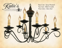 Katie's Handcrafted Lighting Washington Wood 2-Tier Chandelier Pictured In: Base Coat Color = Spicy Mustard, Top Coat Color = Black Crackle, Trim Color = Barn Red