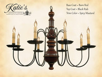 Katie's Handcrafted Lighting Hamilton Wood Chandelier Pictured In: Original Finish, Base Coat Color = Barn Red, Top Coat Color = Black Rub, Trim Color = Spicy Mustard