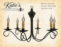 Katie's Handcrafted Lighting Washington Wood Chandelier Pictured In: Base Coat Color = Barn Red, Top Coat Color = Black Crackle, Trim Color = None