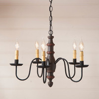 Irvin's Country Inn Wooden Chandelier In Americana Espresso With Red