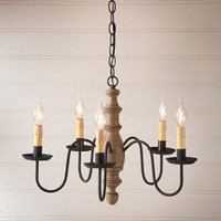Irvin's Country Inn Wooden Chandelier In Americana Pearwood