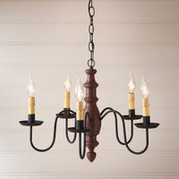 Irvin's Country Inn Wooden Chandelier In Americana Plantation Red