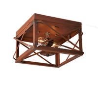 Irvin's Double Ceiling Light With Folded Bars Finished In Rustic Tin