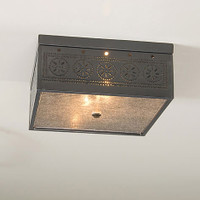 Irvin's Square Ceiling Light With Chisel Design Finished In Country Tin
