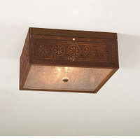 Irvin's Square Ceiling Light With Chisel Design Finished In Rustic Tin