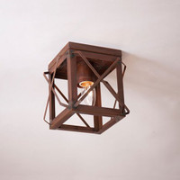 Irvin's Single Ceiling Light With Folded Bars Finished In Rustic Tin