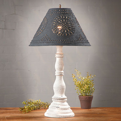 "Irvin's Davenport Lamp In Americana Vintage White, Shown With Optional 15"" Chisel Design Shade Finished In Textured Black"