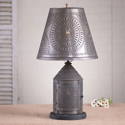 """Irvin's Fireside Lamp With Chisel Design Finished In Blackened Tin, Shown With Optional 14"""" Fireside Chisel Design Shade Finished In Blackened Tin"""