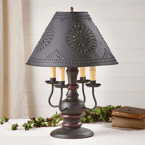 """Irvin's Cedar Creek Lamp In Sturbridge Black With Red, Shown With Optional Chisel Design Textured Black 15"""" Shade"""