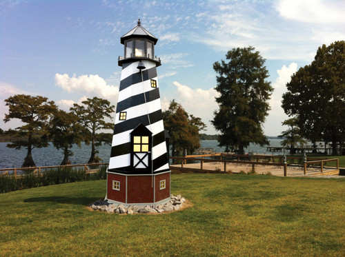 Amish Made 17 Foot Poly/Wood Hybrid Lighthouse -  Shown As: Cape Hatteras Style, X-Large Electric Revolving Light, Roof/Top Color: Black, Tower Primary Color: Black, Tower Accent/Trim Color: White. Base Primary Color: Cherrywood, Optional Base Trim Color: Clay.
