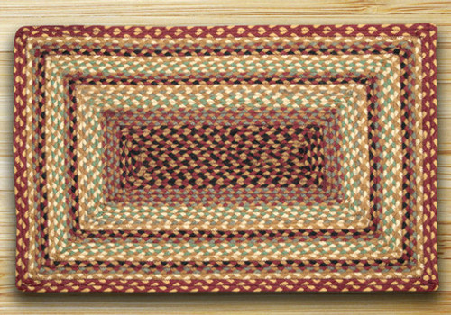 Earth Rugs™ Rectangle Braided Jute Rug Pictured In: Burgundy, Gray, & Cream