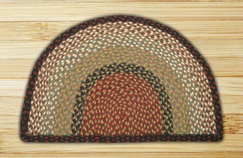 Earth Rugs™ Slice Braided Jute Rug Pictured In: Burgundy, & Mustard