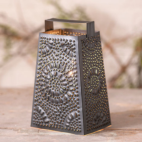 Irvin's TInware Cheese Grater Accent Light Finished In Smokey Black