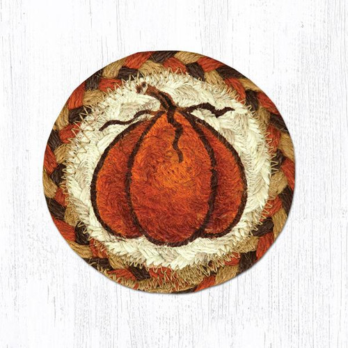 "Earth Rugs™ Braided Jute 5"" Round Coaster:  Harvest Pumpkin Design - 31-IC222HP"