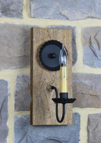 Rustic Barn Wood Electric Wall Sconce With Satin Polyurethane Finish