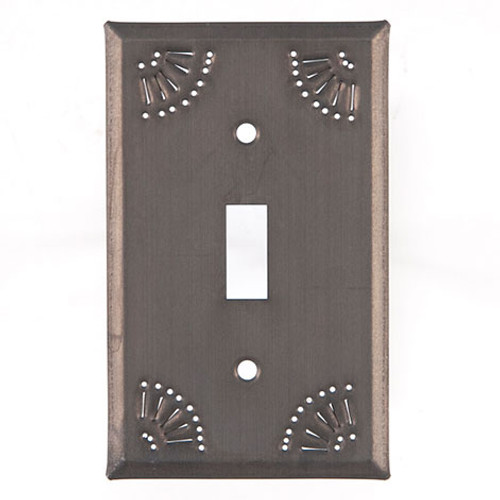 Blackened Tin Single Switch Plate Cover With Chisel Design