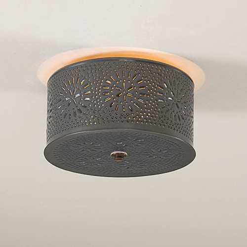 Irvin's Round Ceiling Light With Chisel Design Finished In Country Tin