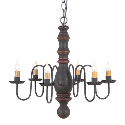 Irvin's Manassas Wooden Chandelier In Hartford Black With Red Trim