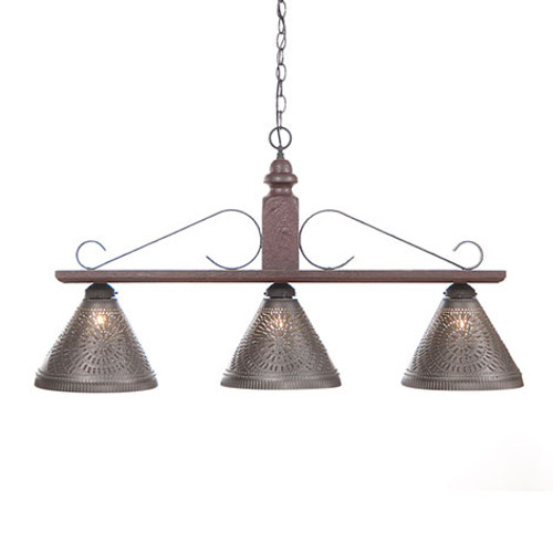 Irvin's Wellington Hanging Light - Large - Finished in Americana Plantation Red