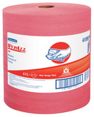 """Kimberly-Clark Wypall X80 Disposable Wiper, 13-25/64"""" Length x 12-1/2"""" Width, Red (Roll of 475)"""