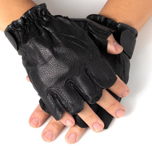 Alpine Swiss Men's Fingerless Gloves Genuine Leather for Workout Training Riding