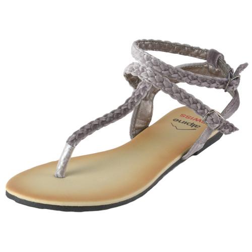 Alpine Swiss Women's Gladiator Sandals Braided T-Strap Slingback Roman Flats