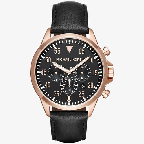 Michael Kors Mens Gage Chronograph Black Dial Leather Strap Rose Gold Tone Watch
