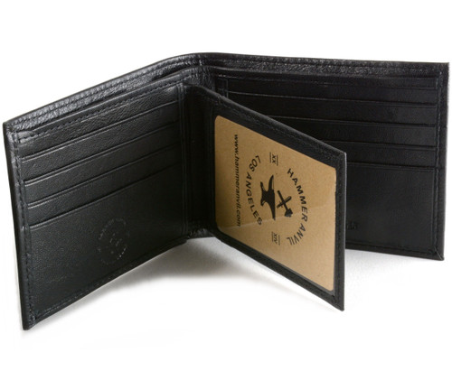 Mens Leather Wallet RFID Blocking Compact Multi Card Flip ID Bifold Hammer Anvil
