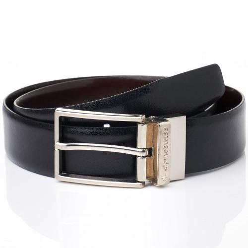 Alpine Swiss Men's Dress Belt Reversible Black Brown Leather Imported from Spain