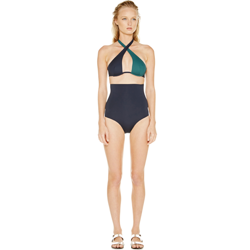BICOLORE WRAP ONE PIECE - FORET MARINE - FRONT
