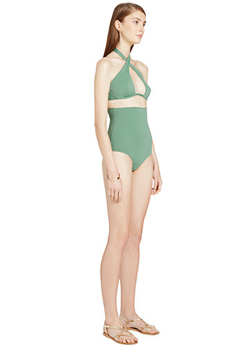KHAKI WRAP ONE PIECE SIDE