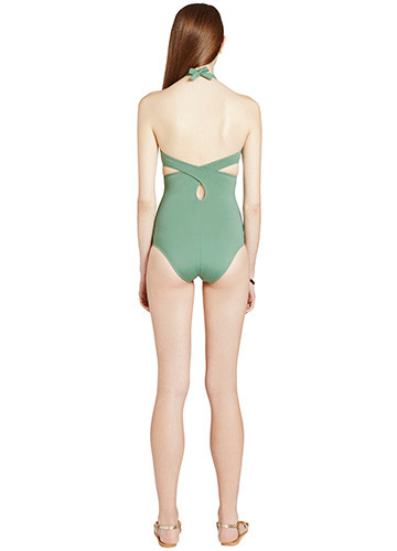 KHAKI WRAP ONE PIECE BACK