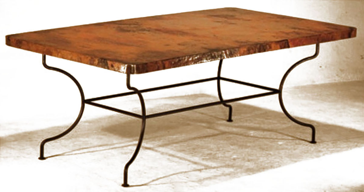 hand hammered copper dining table