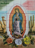 Virgin of Guadalupe and cactus garden tile mural