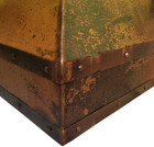 copper vent hood with metal straps