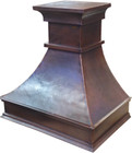 copper range hood cover side view