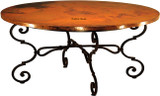 copper table with iron base