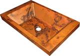 copper bar sink hammered