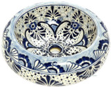 light blue white mexican vessel sink