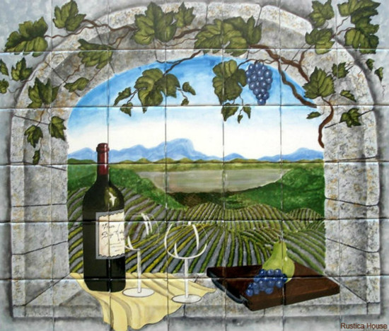 Tile Mural Vineyard View