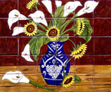 sunflowers and calla lilies beautiful tile mural