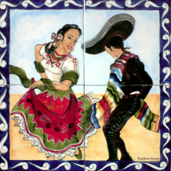 mexican dance  colorful tile mural