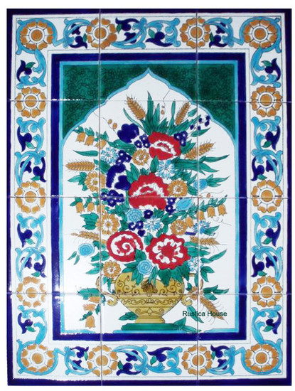 morroco style flowers kitchen tile mural